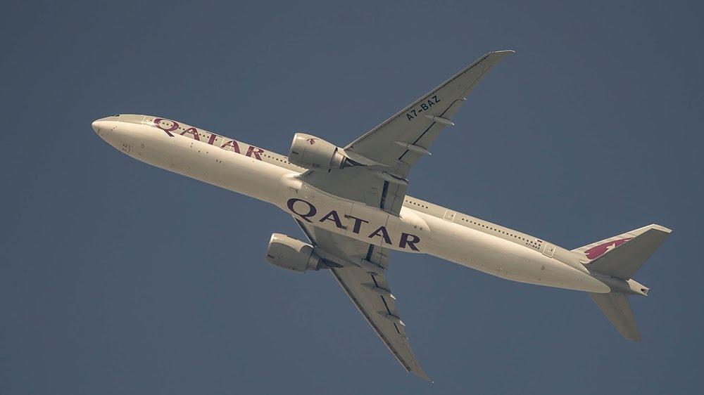 Qatar Airways Boeing 777 aircraft Flying from Doha to Kuwait on March 7, 2020 [Sorin Furcoi/Al Jazeera]