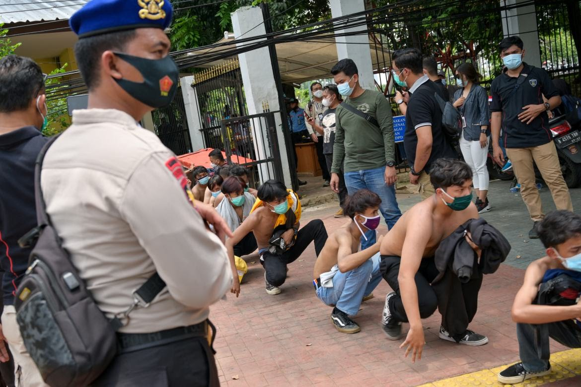 Nearly 600 people have been detained during the protests. [Bay Ismoyo/AFP]