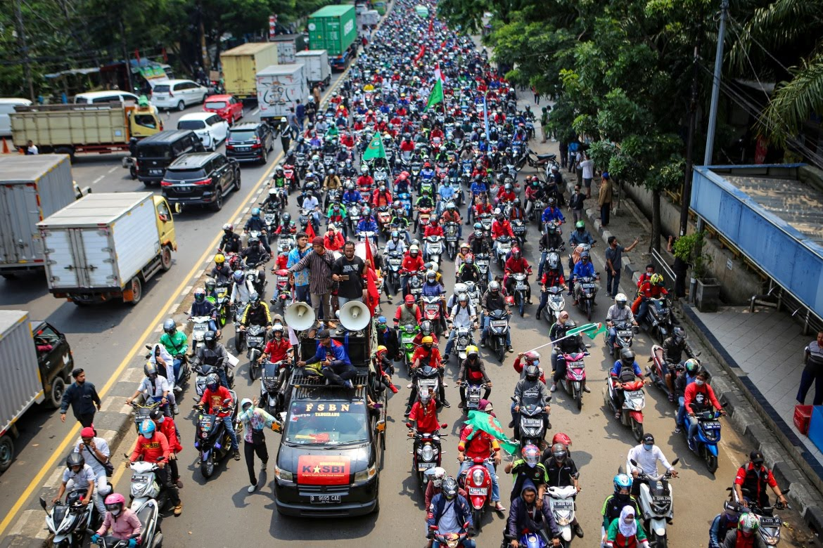 The government has championed the flagship legislation as key to boosting Indonesia's ailing economy. [Fauzan/Antara Foto via Reuters]