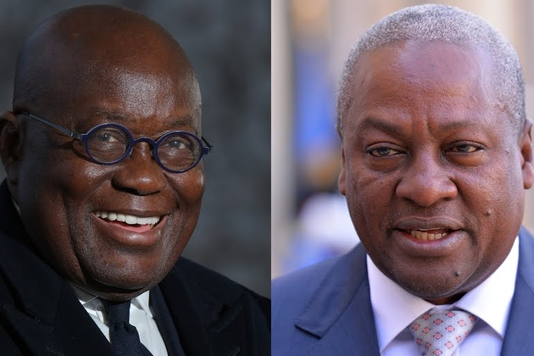 The race is expected to be a close one between incumbent Nana Akufo-Addo (L) and longtime opponent John Mahama [File: Getty Images]